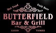 u06352-r BUTTERFIELD Family Name Bar & Grill Cold Beer Neon Light Sign Barlicht Neonlicht Lichtwerbung