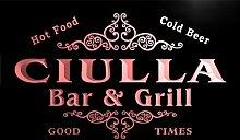 u08239-r CIULLA Family Name Bar & Grill Cold Beer Neon Light Sign Barlicht Neonlicht Lichtwerbung