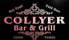 u08703-r COLLYER Family Name Bar & Grill Cold Beer Neon Light Sign Barlicht Neonlicht Lichtwerbung