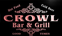 u09703-r CROWL Family Name Bar & Grill Cold Beer Neon Light Sign Barlicht Neonlicht Lichtwerbung