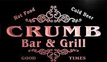 u09723-r CRUMB Family Name Bar & Grill Cold Beer Neon Light Sign Barlicht Neonlicht Lichtwerbung