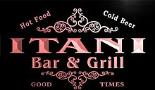 u21734-r ITANI Family Name Bar & Grill Home Beer Food Neon Sign Barlicht Neonlicht Lichtwerbung