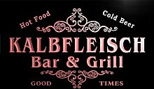 u22473-r KALBFLEISCH Family Name Bar & Grill Home Beer Food Neon Sign Barlicht Neonlicht Lichtwerbung