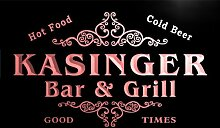u22695-r KASINGER Family Name Bar & Grill Home Beer Food Neon Sign Barlicht Neonlicht Lichtwerbung