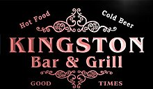 u23411-r KINGSTON Family Name Bar & Grill Home Beer Food Neon Sign Barlicht Neonlicht Lichtwerbung
