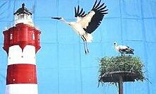U24 Fahne Flagge Leuchtturm mit Storch 90 x 150 cm