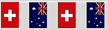U24 Flaggenkette Schweiz - Australien 6,20 m Fahne