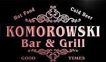 u24060-r KOMOROWSKI Family Name Bar & Grill Home Beer Food Neon Sign Barlicht Neonlicht Lichtwerbung