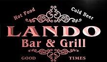 u25249-r LANDO Family Name Bar & Grill Home Beer Food Neon Sign Barlicht Neonlicht Lichtwerbung