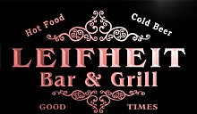 u26007-r LEIFHEIT Family Name Bar & Grill Home Beer Food Neon Sign Barlicht Neonlicht Lichtwerbung