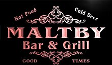 u28055-r MALTBY Family Name Bar & Grill Home Beer Food Neon Sign Barlicht Neonlicht Lichtwerbung