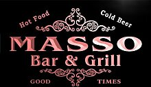 u28733-r MASSO Family Name Bar & Grill Home Beer Food Neon Sign Barlicht Neonlicht Lichtwerbung