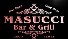 u28759-r MASUCCI Family Name Bar & Grill Home Beer Food Neon Sign Barlicht Neonlicht Lichtwerbung