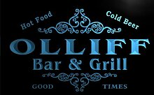 u33260-b OLLIFF Family Name Bar & Grill Home Brew Beer Neon Sign Barlicht Neonlicht Lichtwerbung