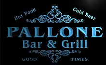 u33837-b PALLONE Family Name Bar & Grill Home Brew Beer Neon Sign Barlicht Neonlicht Lichtwerbung