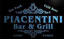 u34974-b PIACENTINI Family Name Bar & Grill Home Brew Beer Neon Sign Barlicht Neonlicht Lichtwerbung