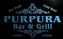 u36198-b PURPURA Family Name Bar & Grill Home Brew Beer Neon Sign Barlicht Neonlicht Lichtwerbung