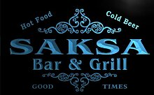 u38978-b SAKSA Family Name Bar & Grill Home Brew Beer Neon Sign Barlicht Neonlicht Lichtwerbung