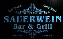 u39452-b SAUERWEIN Family Name Bar & Grill Home Brew Beer Neon Sign Barlicht Neonlicht Lichtwerbung