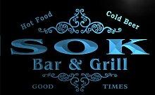 u42137-b SOK Family Name Bar & Grill Home Decor Neon Light Sign Barlicht Neonlicht Lichtwerbung