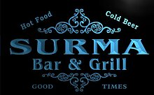 u43924-b SURMA Family Name Bar & Grill Home Decor Neon Light Sign Barlicht Neonlicht Lichtwerbung