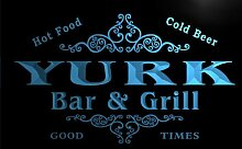 u49485-b YURK Family Name Bar & Grill Home Decor Neon Light Sign Barlicht Neonlicht Lichtwerbung