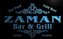 u49565-b ZAMAN Family Name Bar & Grill Home Decor Neon Light Sign Barlicht Neonlicht Lichtwerbung