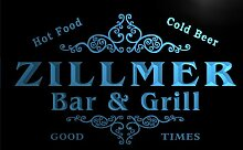 u49823-b ZILLMER Family Name Bar & Grill Home Decor Neon Light Sign Barlicht Neonlicht Lichtwerbung