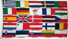 UB Fahne / Flagge Europa 25 Länder mit Schrift 90