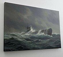 Uboot Meer Sturm Wasser Leinwand Bild Wandbild