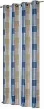 Übergardine Ösen Vorhang blau und beige Töne