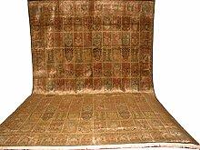 Übermaßteppich Kaschmir Felder mit Kunstseide Indien ca. 560 x 355 cm · Braun · handgeknüpft · Schurwolle mit bis zu 5% Kunstseide (Viskose) · Klassisch · hochwertiger Teppich · S098613