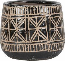 Übertopf aus Terrakotta, schwarz mit Ethnomustern