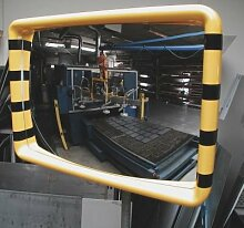 Überwachungsspiegel - Rahmen mit gelb-schwarzer Warnmarkierung - BxH 900 x 600 mm - Industriespiegel Wandspiegel Weitwinkelspiegel
