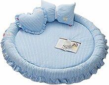 Überwürfe Sitzauflagen Schlafzimmer waschen Baumwolle Klettermatte Wohnzimmer abnehmbare Runde Teppich Schlafzimmer Kinder Spielmatte, Durchmesser 145cm ( Color : Blue )