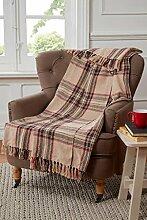 Überwurf Decke für Sofa/Stuhl/Bett, Baumwolle, Karomuster, natur beige
