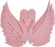UEETEK 50 Stück Weinglas Karte Schwan Hochzeit Tisch Name Ort Karten Geburtstag Party Dekoration (rosa)