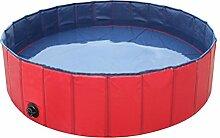 UEETEK Hundepool Hunde Schwimmbad Faltbare für Hund Katze Haustier 80x30cm (Rot)