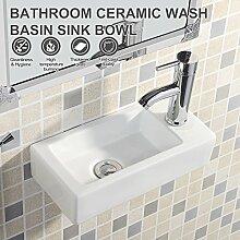 UEnjoy Design Eckwaschbecken Keramik Waschschale Weiß mit Hahnloch 9700