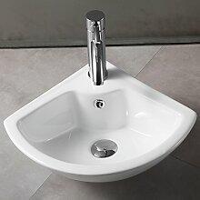 UEnjoy Design Eckwaschbecken Keramik Waschschale Weiß mit Überlauf & Hahnloch 0100