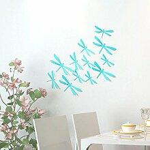 ufengke® 12 Tlg 3D Libellen Wandsticker Mode-Design DIY Bunten Libellen-Kunst-Abziehbilder Handwerk Hauptdekoration, Hellblau