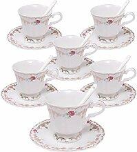 ufengke 4oz Blumen Kaffeetasse Set, Porzellan
