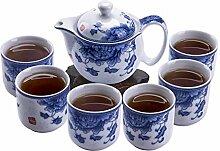 ufengke 7 Stück Kung Fu Teeset Chinesisch,Blau