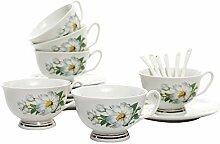 ufengke 7oz Flora Kaffeetassen Set,Porzellan