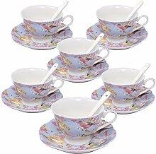 ufengke 7oz Kaffeetasse Set, Blumen und Vögel