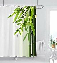 ufengke Duschvorhang Bambus mit 12 Haken Weiß