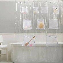 ufengke Duschvorhang mit Taschen für