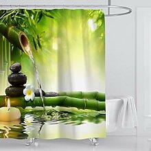 ufengke Duschvorhang Zen Bambus mit 12 Haken Grün