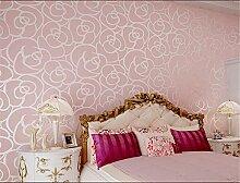 ufengke Vliesstoff Beflockung Bronzing Romantische Rose Blume 3D Muster Tapeten Wandbild Für Wohnzimmer Schlafzimmer TV Ehe Raum Hintergrund