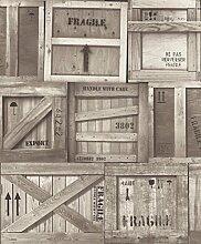 UGEPA Vinyltapete Holzfrachtkisten, Beige, J89908